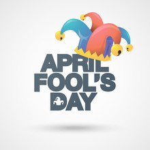 Illustration Of A Jester Hat. April Fools Day. Vector Typographical Background.