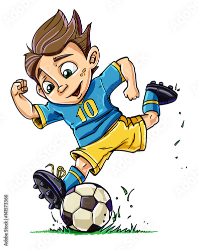 Cartoon Boy Playing Football Buy This Stock Illustration And Explore Similar Illustrations At Adobe Stock Adobe Stock