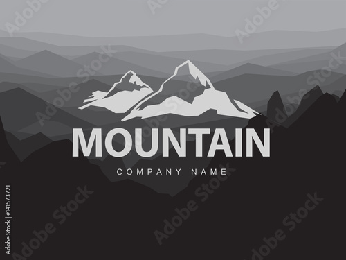 Mountains logo template with abstract peaks background. Logotype on mountain monochrome abstract background. Mountaineering and Traveling illustration.