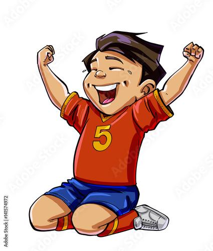 Cartoon football boy scoring a goal - Buy this stock