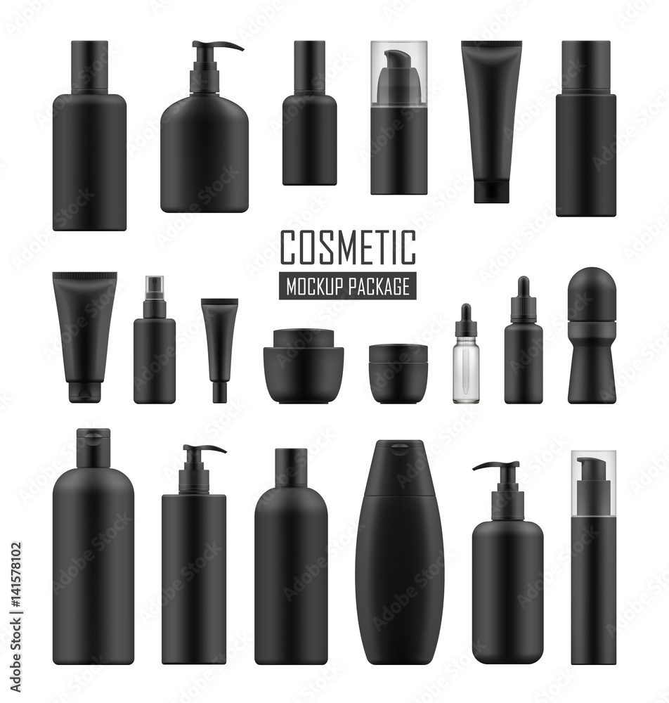 Fototapeta Set of realistic black package for luxury cosmetic product: tube cream, bottle with pump dispenser or spray, oil, lotion or shampoo, gel shower and liquid soap. Vector mockup of isolated on white