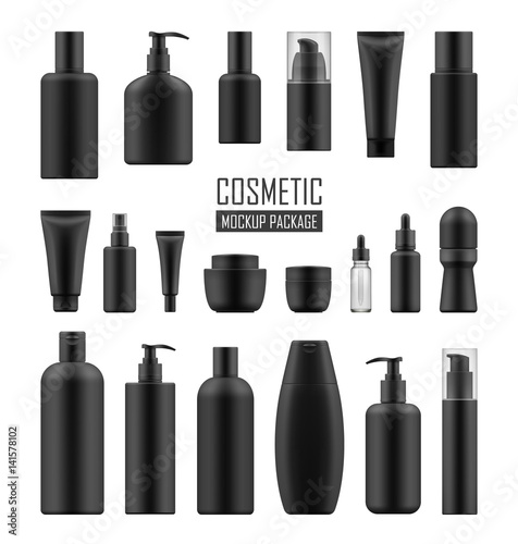 Photo Set of realistic black package for luxury cosmetic product: tube cream, bottle with pump dispenser or spray, oil, lotion or shampoo, gel shower and liquid soap