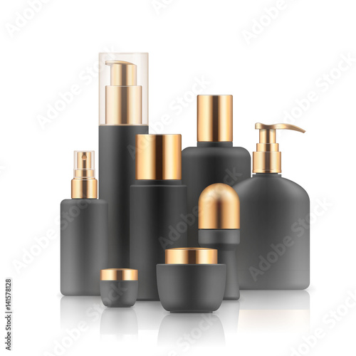 Blank templates of empty black and silver package for cosmetic