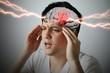 canvas print picture - brain stroke concept, headache, cerebral hemorrhage, 3D rendering