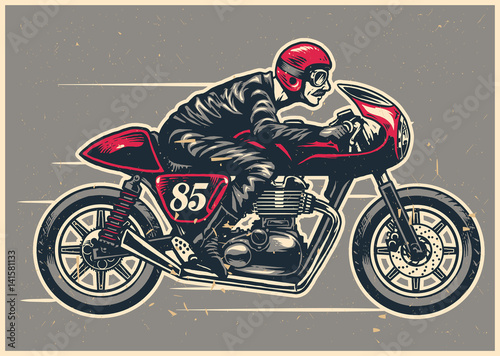 Fotografija hand drawing man riding a cafe racer