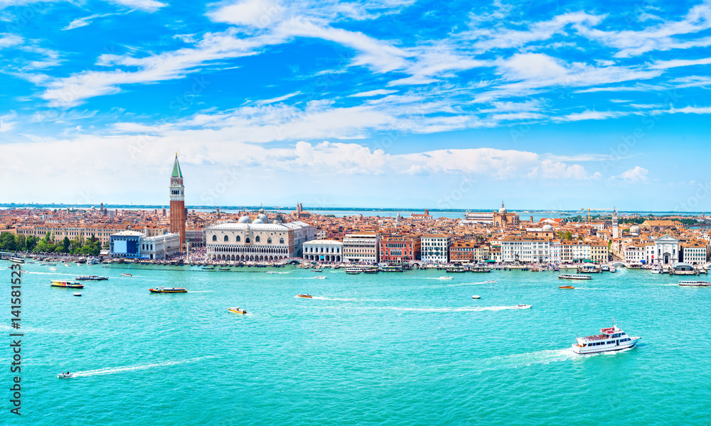 Fototapety, obrazy: Venice panoramic aerial view, Piazza San Marco with Campanile and Doge Palace. Italy
