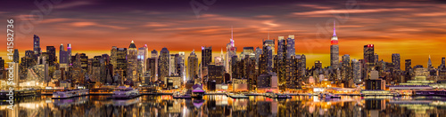 New York City panorama at sunrise.