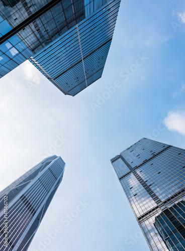 Fototapeta Up looking Skyscrapers with skyline in Shanghai financial district. obraz na płótnie