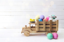 Wooden Toy Truck With Easter E...