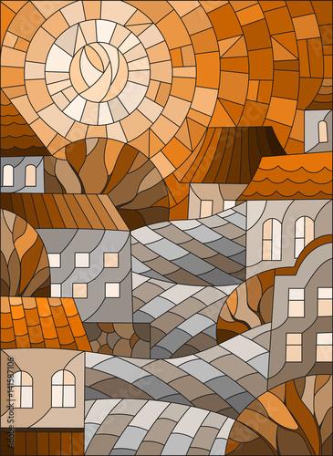 ilustracja-w-stylu-witrazu-krajobraz-miejski-dachy-i-drzewa-na-dzien-niebo-i-slonce-sepia-brazowy-ton