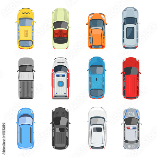 Photo  Set of car top view vector set