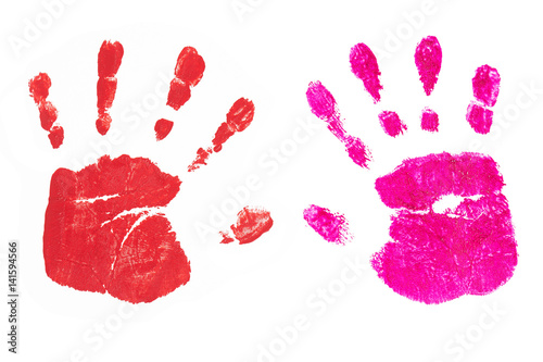 Fotografie, Obraz  Handprints by children isolated on a white background
