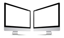 Computer Monitor Screen Mockup With Perspective View To Showcase Website Design Project In Modern Style. Monitors With Blank Screens Isolated On White Background. Vector Illustration