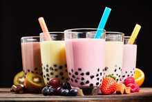 Glasses Of Refreshing Milky Boba Or Bubble Tea