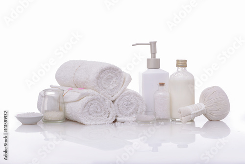 Poster Spa spa theme objects on white background