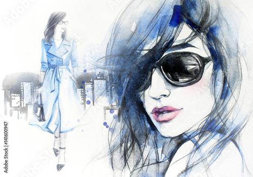 Plakaty na wymiar  woman-in-coat-street-fashion-style-hand-drawing-illustration-watercolor-painting