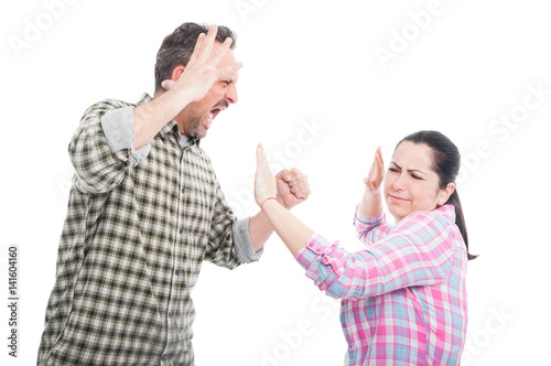 Married couple having a fight or altercation Canvas Print