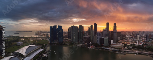 Panorama of Singapore city shot from drone aerial photography modern urban cityscape
