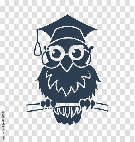 Poster Uilen cartoon silhouette icon back to school owl