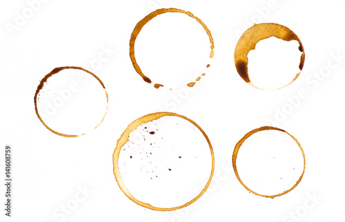 Some kind of coffee cup rings isolated on a white background, background, texture