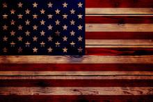 Wood Texture Flag USA
