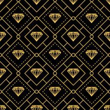 Luxurious Golden Lines Diamond Seamless Pattern