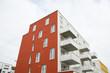 Moderne Hausreihe, bunte Hausreihe, schöne Hausreihe in München, Wohnhaus, Wohnhaus