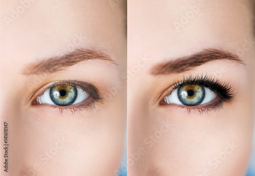 Fotografía  Female eyes before and after eyelash extension.