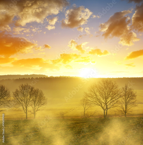 Staande foto Meloen Misty March morning in Czech Republic. Rural spring landscape at sunrise.
