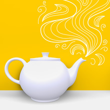 White Teapot In Corner Of Room...