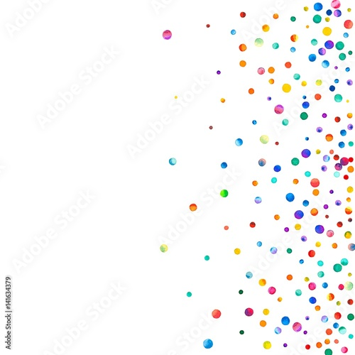 Obraz Dense watercolor confetti on white background. Rainbow colored watercolor confetti scatter top gradient. Colorful hand painted illustration. - fototapety do salonu