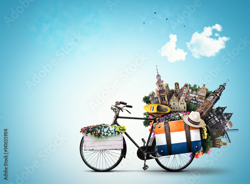 Fotografie, Obraz  Netherlands, a city bicycle with Dutch attractions