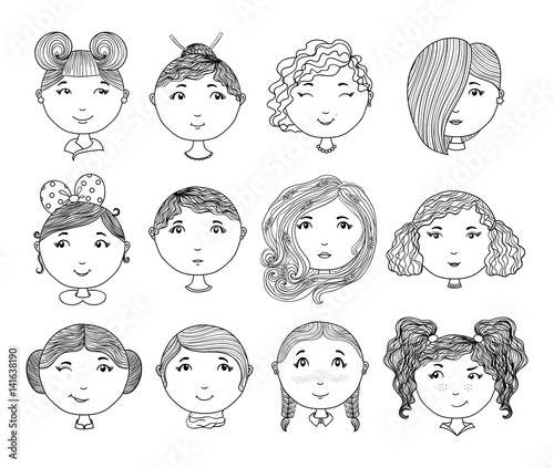 set of hand drawn girl faces cartoon girls avatar collection
