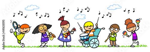 фотография  Gruppe Kinder mit Musikinstrumenten