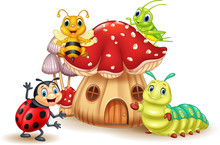 Cartoon Small Insect With Mush...