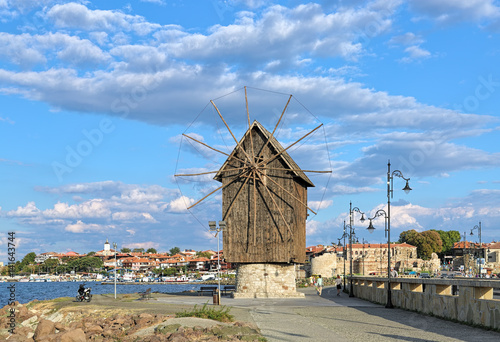 Photo Stands Mills Old windmill at the entrance to the Old Town of Nessebar, Bulgaria