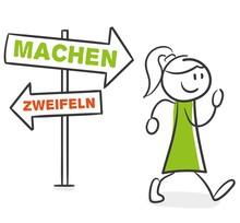 Stick Figure Series Green Woman / Machen, Durchsetzen, Aufmunterung