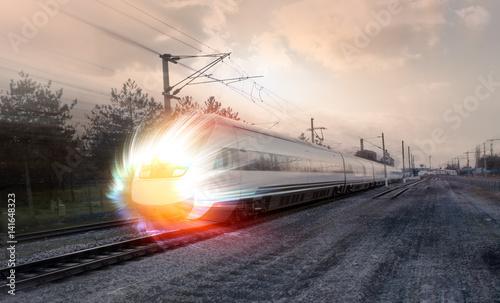Spoed Foto op Canvas Stadion high speed train