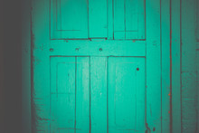 Rustic Weathered Wooden Doors In Santa Fe, New Mexico
