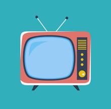 Cute Retro Tv. Old Tv In Carto...