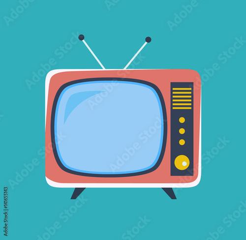 Fotomural  Cute retro tv. Old tv in cartoon style. Vector stock.