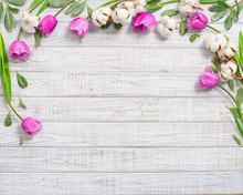 Floral Frame With Tulips And C...