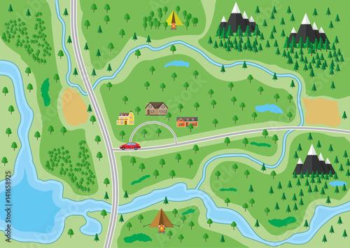 Foto op Canvas Olijf Suburban nature map