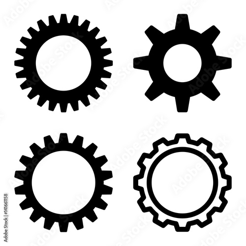 Cog icon set  Flat black symbol collection  Pictograms are