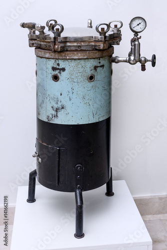 Photograph of an old autoclave. Medicine Canvas Print