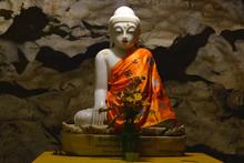Beautiful Marble Buddha Statue Inside Sacred Bayin Nyi Cave In Hpa-An, Myanmar.