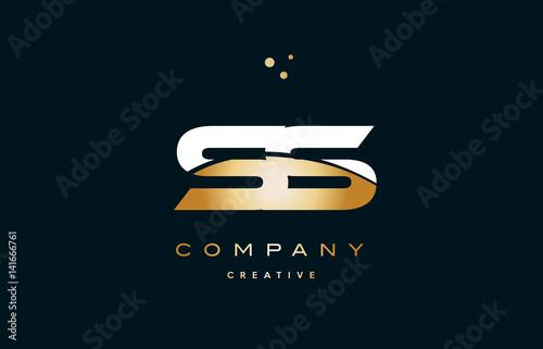 ss s s white yellow gold golden luxury alphabet letter logo icon template