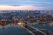High angle view of Manhattan Bridge over East River in New York city