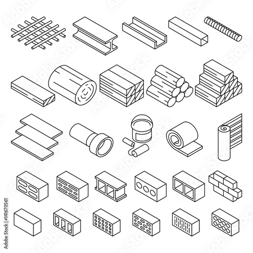 Valokuva  Building construction materials for repair isometric vector icons