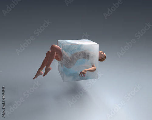 Woman in ice cube